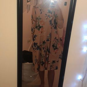 Peach Swing Floral Dress WITH POCKETS